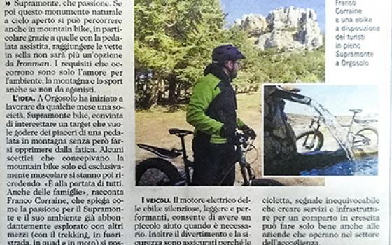 "The Sardinian newspaper ""L'unione sarda"" talks about Supramonte Bike"